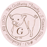 Name Doodles - Round Address Labels/Stickers (Culinary Piglet)